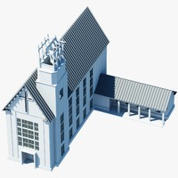 3d model church building symbol