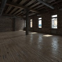 3d model of base loft interior scene