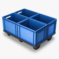 3ds max plastic pallet boxes