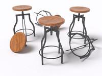 3d model alexander industrial bar stool