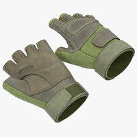 3d model soldier gloves 2 green