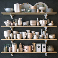 Shelves with dishware in white