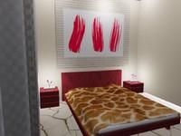 3d modern bedroom