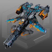 scifi gunship x3 3d max