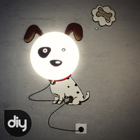 3d diy spotted dog light lamp model