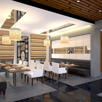 scene modern restaurant 3d model