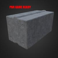 obj concrete cement barricade block