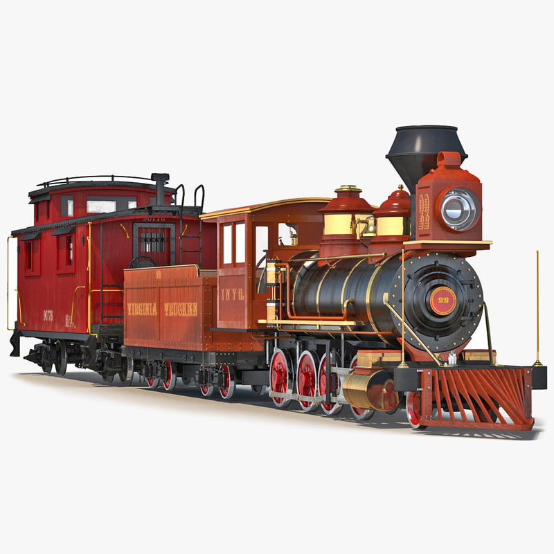 Steam Train and Caboose 3d model 00.jpg