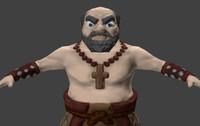 monk fantasy character 3d obj