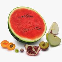 3d cross section fruits model