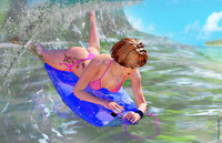girl body boarding 3d model