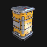 3d sci-fi metal crate