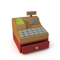 stylized cartoon cash register obj
