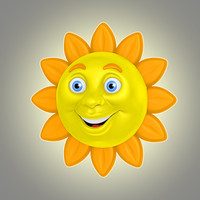 cool cartoon sun 3d model