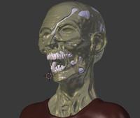 zombie head 3d blend