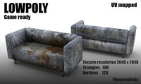 LowPoly old damaged grange sofa