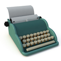 3d cartoon type writer model