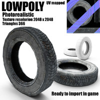 Low poly old tire of wheel(1)