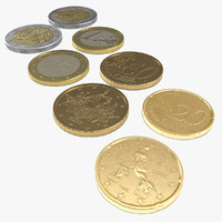 3d model of italian euro coins 2
