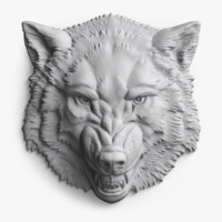 3ds max angry wolf head bas-relief