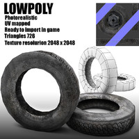 Low poly old tire of wheel
