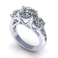 Three twice stone diamond ring