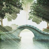 3d scene stone bridge