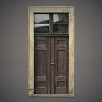 3d old wooden door