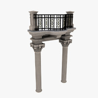 balcony ornate 3d max