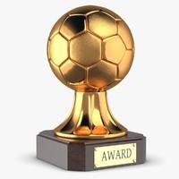 3d award trophy soccer