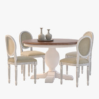Baroque Parquet round dining set