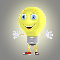 3d lwo cartoon light bulb