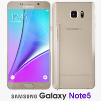 3d samsung galaxy note5 gold model