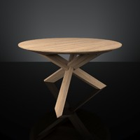 ethnicraft oak circle dining table 3d model