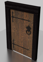 tudor wooden door weathered 3d model