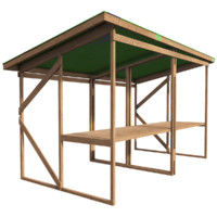 3d model wooden stall ready pbr
