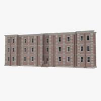 3d model brick apartment building interior exterior
