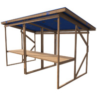 wooden stall ready pbr 3d model