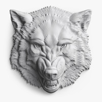 angry roaring wolf head 3d model