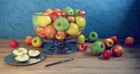 3d apple set bowl dish