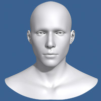 polygonal male head character 3d model
