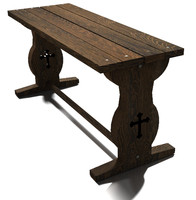 tudor wooden table wood obj