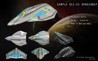simple spaceship 3d model
