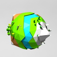 Cartoon low poly planet