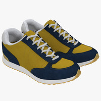 sneakers 3 yellow 3d model