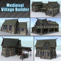 3d model medieval village houses