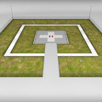 3d model helicopter helipad ground