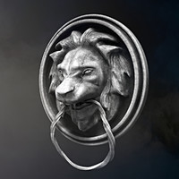 lion head door 3d obj
