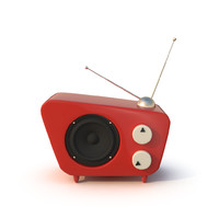 3d model of stylized cartoon radio