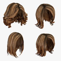 3d model of female hairstyles pack